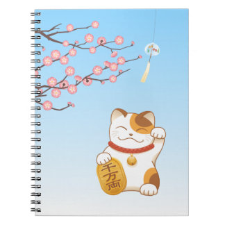 Caderno Gato de chita afortunado japonês, Maneki Neko