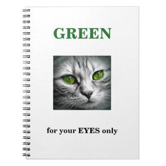 Caderno gato eyed verde