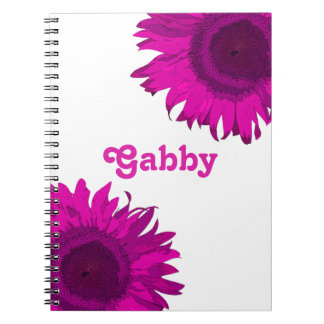 Caderno Girassol cor-de-rosa do pop art