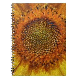 Caderno Girassol e sementes no estilo de Van Gogh