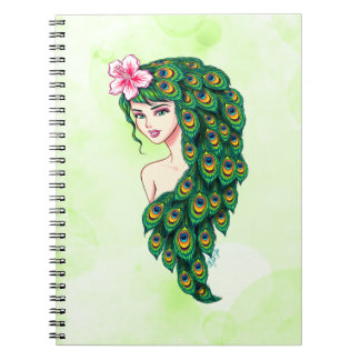 Caderno glamoroso do verde da arte da deusa do