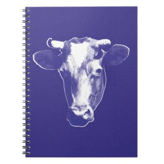 Caderno Gráfico roxo da vaca do pop art