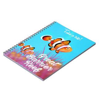 Caderno Grande poster dos desenhos animados dos peixes do