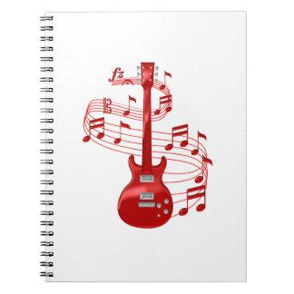 Caderno Guitarra elétrica vermelha com notas da música