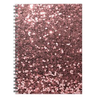 Caderno Impressão cor-de-rosa moderno do brilho do falso