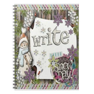 Caderno Inverno escrevendo - livro de nota nevado do dia