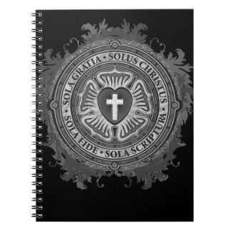 Caderno J-rosa-preto-fundo cristão do rosa de Luther do