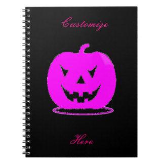 Caderno Jack cor-de-rosa o Dia das Bruxas o'lantern