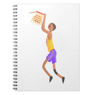 Caderno Jogador de basquetebol que pendura na etiqueta da