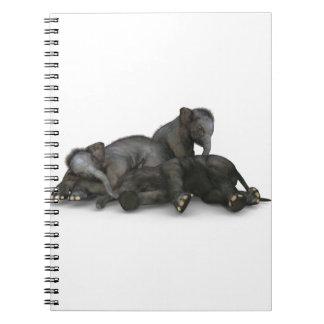 Caderno jogo pequeno bonito dos elefantes do bebê