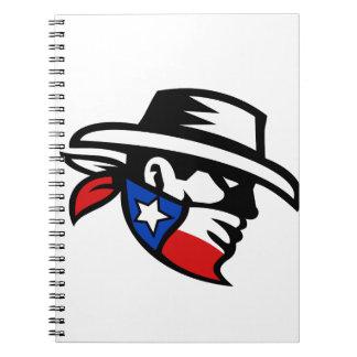 Caderno Lado do vaqueiro do bandido de Texas retro