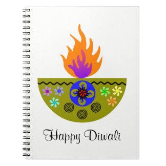 Caderno Lâmpada colorida Diya de Diwali