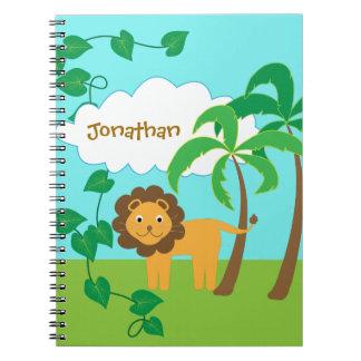 Caderno Leão na selva com as palmeiras personalizadas
