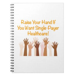 Caderno Levante sua mão para cuidados médicos do