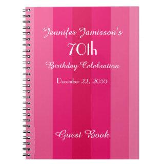 Caderno listra do rosa do livro de hóspedes da festa de