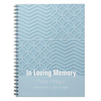 Caderno Livro de hóspedes azul geométrico do funeral da