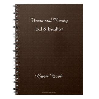 Caderno Livro de hóspedes rústico de B&B, serapilheira de