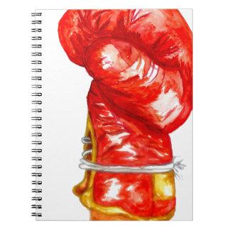 Caderno Luva de encaixotamento vermelha