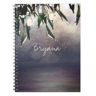 Caderno Luzes da árvore de salgueiro Weeping & do frasco