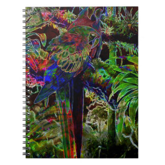 Caderno Macaws no paraíso tropical na noite