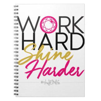 Caderno mais duro do brilho duro do trabalho