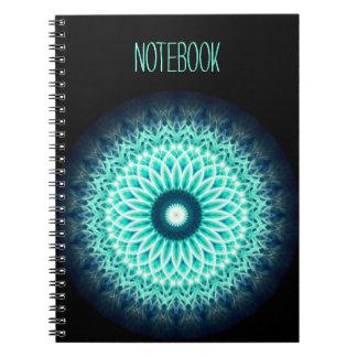 Caderno Mandala do texto   Lotus azul do modelo