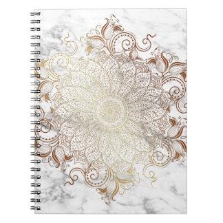 Caderno Mandala - ouro & mármore