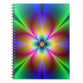 Caderno Margarida de néon colorida