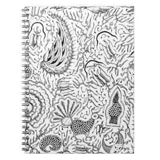 Caderno Matéria têxtil indonésia abstrata com pássaros