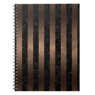 CADERNO METAL PRETO DO MÁRMORE STRIPES1 & DO BRONZE