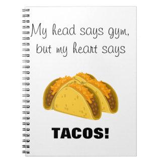 Caderno Meu principal diz que o gym meu coração diz o