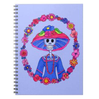 Caderno Espiral Caderno mexicano do crânio