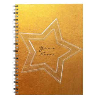 Caderno Mínimo metálico do ouro do rosa do rosa da estrela
