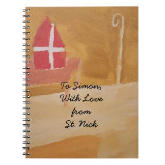 Caderno Mitra da aguarela de Sinterklaas do Dutch do dia