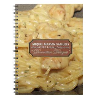 Caderno moderno decorativo da comida de Alfredo da