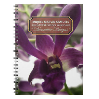 Caderno moderno decorativo da natureza da orquídea