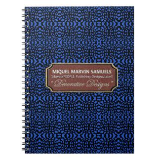 Caderno moderno decorativo do preto azul de ondas
