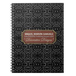 Caderno moderno preto decorativo da escuridão