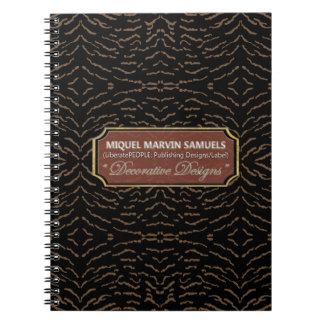 Caderno moderno preto decorativo de Brown dos
