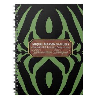 Caderno moderno preto verde decorativo da zebra