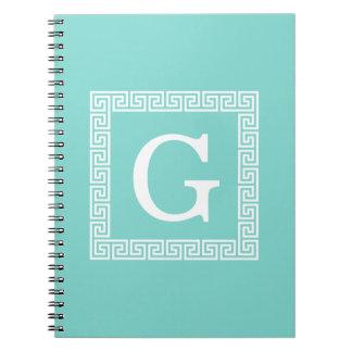 Caderno Monograma inicial chave grego branco do quadro #1