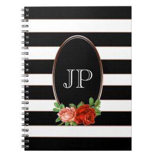 Caderno Monograma listrado branco preto de bronze floral
