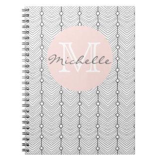 Caderno Monograma retro abstrato preto & do branco do