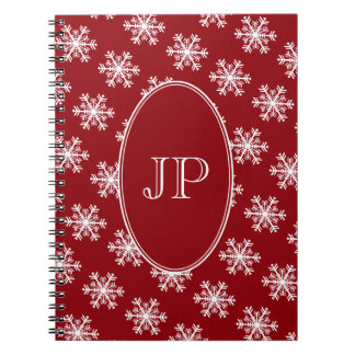 Caderno Monograma vermelho & branco do floco de neve