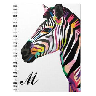 Caderno Monogrammed da zebra colorida do pop art
