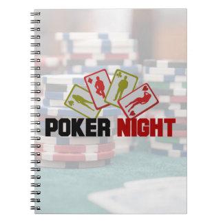 Caderno Noite do póquer com cartões de jogo e