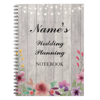 Caderno Notas florais de madeira do planeamento rústico do