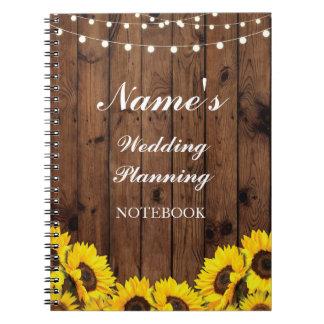 Caderno Notas rústicas do girassol do planeamento do