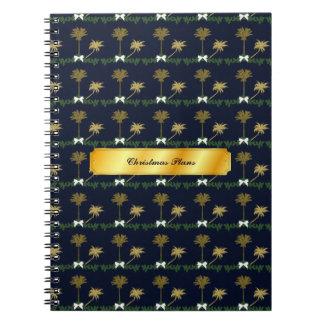 Caderno Notas tropicais do Natal do azul e do ouro