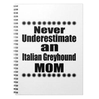 Caderno Nunca subestime a mamã do galgo italiano